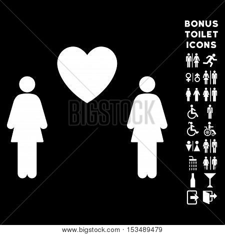 Lesbi Love Pair icon and bonus gentleman and lady lavatory symbols. Vector illustration style is flat iconic symbols, white color, black background.