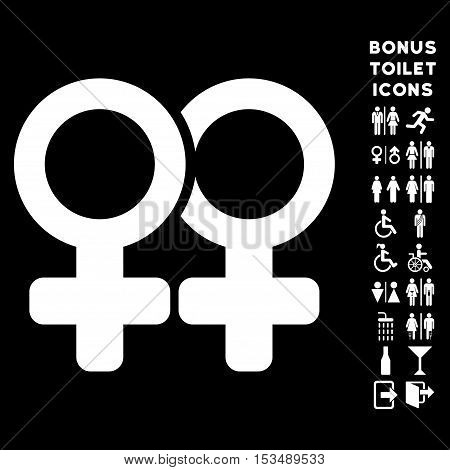Lesbian Pair icon and bonus male and woman WC symbols. Vector illustration style is flat iconic symbols, white color, black background.