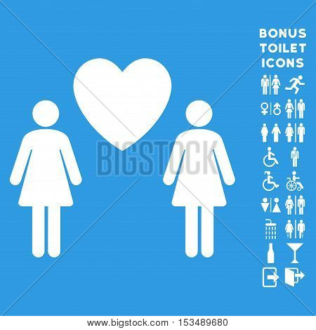 Lesbian Love Pair icon and bonus male and woman WC symbols. Vector illustration style is flat iconic symbols, white color, blue background.