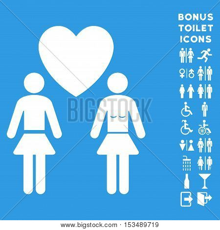 Lesbian Love Pair icon and bonus man and lady restroom symbols. Vector illustration style is flat iconic symbols, white color, blue background.