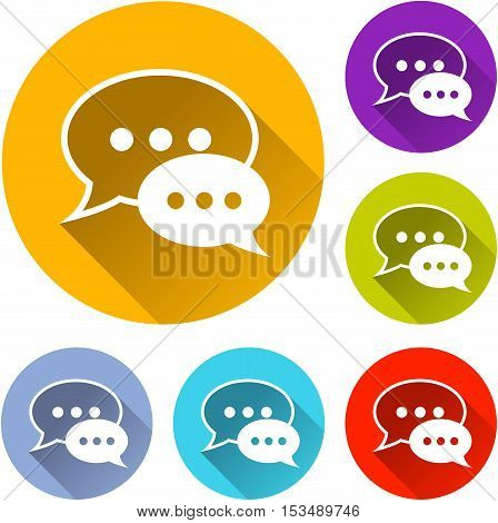 Illustration of speech bubbles icons on white background
