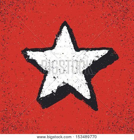 Five-pointed star grunge icon. Star vector illustration. Grunge design element on red background