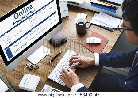 Online Application Form Info Detail Concept
