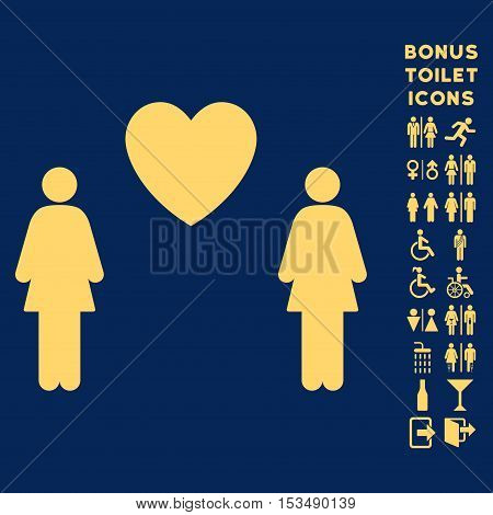 Lesbi Love Pair icon and bonus man and lady lavatory symbols. Vector illustration style is flat iconic symbols, yellow color, blue background.