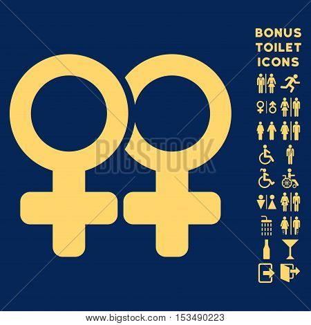 Lesbi Pair icon and bonus gentleman and woman restroom symbols. Vector illustration style is flat iconic symbols, yellow color, blue background.