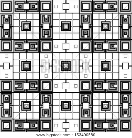 Vector black and white modern abstract pattern of a square, abstract background, retro black and white texture design tiles for the web site