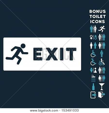 Emergency Exit icon and bonus male and woman lavatory symbols. Vector illustration style is flat iconic bicolor symbols, blue and white colors, dark blue background.