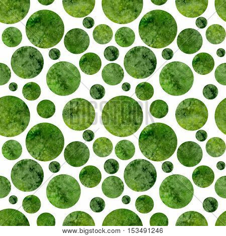 Seamless Abstract Pattern with Watercolor Bright Green Polka Dots