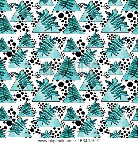 Hand Drawn Seamless Pattern with Watercolor Blue Triangles Ferns and Black Dots