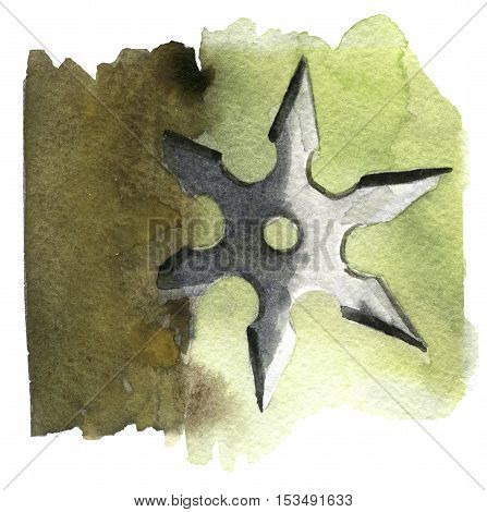 watercolor sketch of shuriken on white background