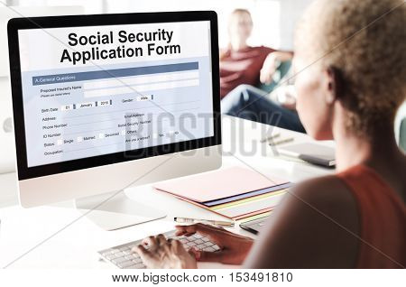 Social Security Application Form Insurance Pension Concept