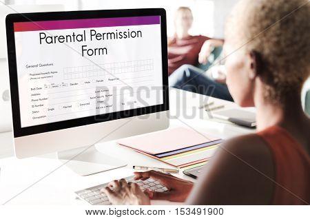 Parental Permission Form Consent Endorsement Concept