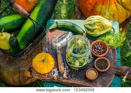 Ingredients for pickling squash in countryside at summer