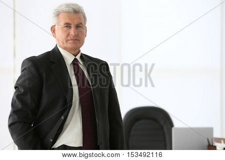 Portrait of successful mature businessman in office