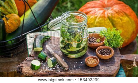 Ingredients for pickling courgettes and squash in countryside at summer