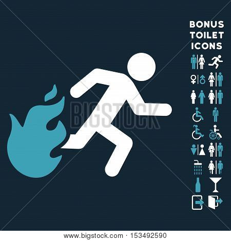 Fired Running Man icon and bonus gentleman and female WC symbols. Vector illustration style is flat iconic bicolor symbols, blue and white colors, dark blue background.