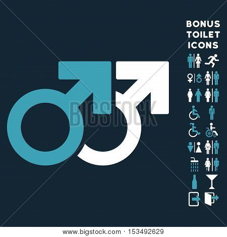 Gay Couple icon and bonus gentleman and female restroom symbols. Vector illustration style is flat iconic bicolor symbols, blue and white colors, dark blue background.