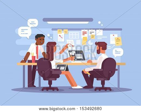 Work schedule, working environment. Successful team in office. Vector illustration