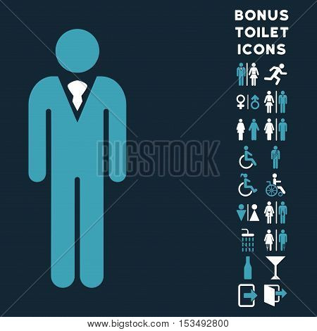 Gentleman icon and bonus male and lady toilet symbols. Vector illustration style is flat iconic bicolor symbols, blue and white colors, dark blue background.