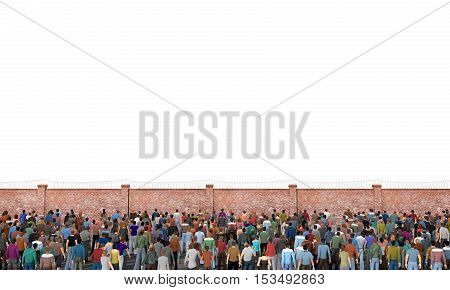 Refugee concept. Crowd of people in front of fence with barbed wire. Concept of liberty. 3d illustration