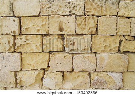 Yellow coquina bricks wall with wide seams