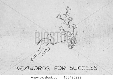 Keywords To Reach Success, Man With Net Catching Keys