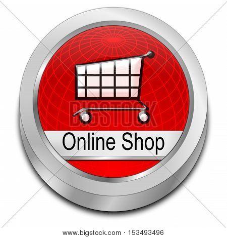 decorative red online Shop Button - 3D illustration
