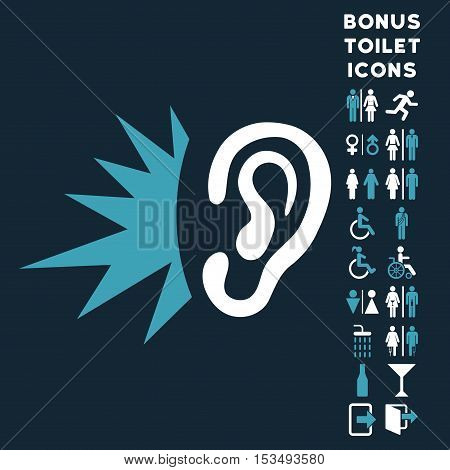Listen Loud Sound icon and bonus male and woman WC symbols. Vector illustration style is flat iconic bicolor symbols, blue and white colors, dark blue background.