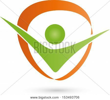 A person and circle logo, fitness and physiotherapy logo