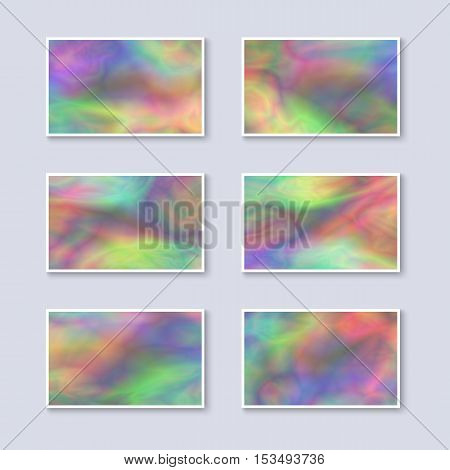 Set of Multicolor Rainbow Business Cards. Templates for Gift Cards / Invitations / Postcards with Realistic Holographic Effect. Abstract Universal Design Elements. Unique Iridescent Blanks.