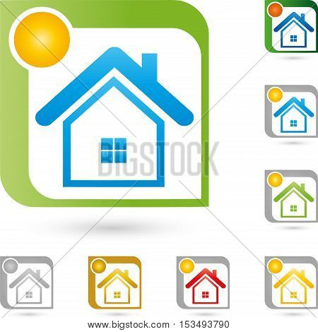 House and sun, real estate agent and real estate logo