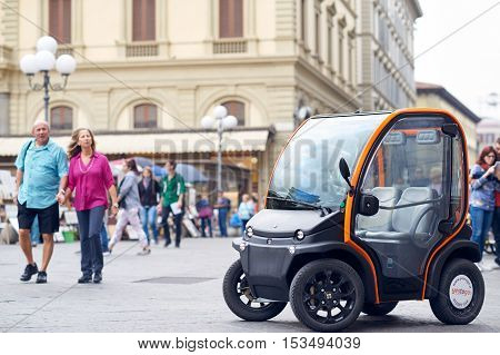 Florence - OCTOBER 25: The first electric car to rent in Florence historical center in OCTOBER 25 2016 in Florence Italy