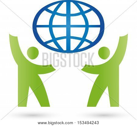 Two people and world globe, partnership and team logo