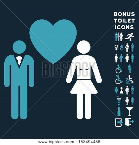 Love Persons icon and bonus gentleman and woman restroom symbols. Vector illustration style is flat iconic bicolor symbols, blue and white colors, dark blue background.