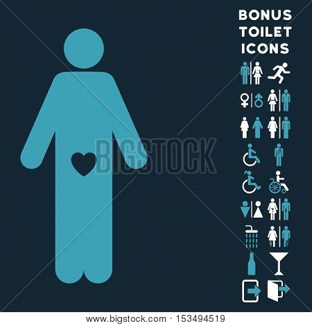 Lover Guy icon and bonus gentleman and lady WC symbols. Vector illustration style is flat iconic bicolor symbols, blue and white colors, dark blue background.