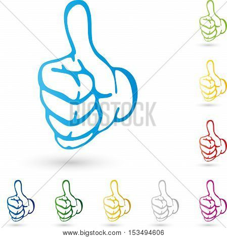 Hand, colored, thumbs, super, hand and rating logo