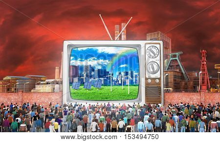 Mass media concept. Crowd of people near fence watch to old tv. On the screen good image. Behind the fence a bad image. Concept of propaganda and zombie society. 3d illustration