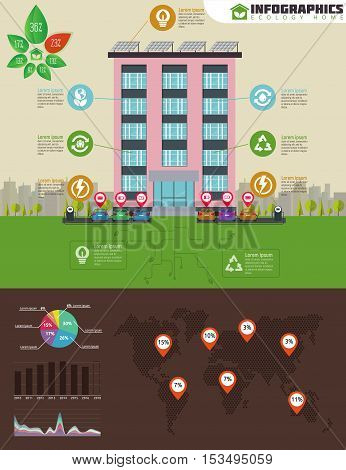 Eco apartment house infographic. Ecology green house in city. Flat style vector illustration. Solar panels, electric powered car and charging point, dotted abstract world map, ecology icons set