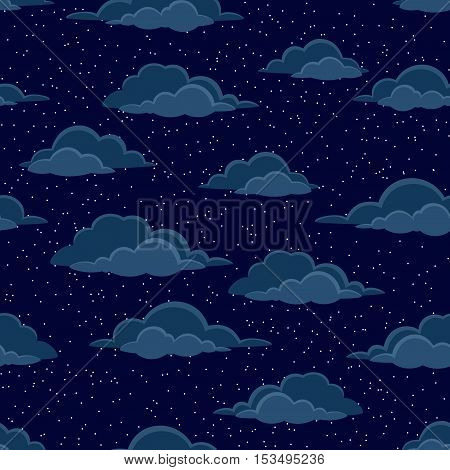 Cloudscape Seamless Background, Cumulus Clouds and White Stars on Dark Blue Night Sky. Vector