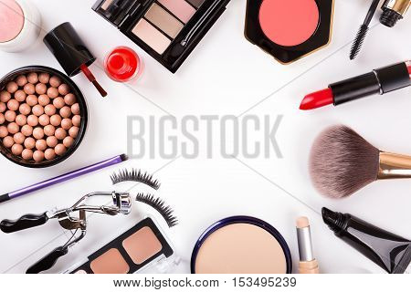 makeup cosmetics with copyspace isolated on white