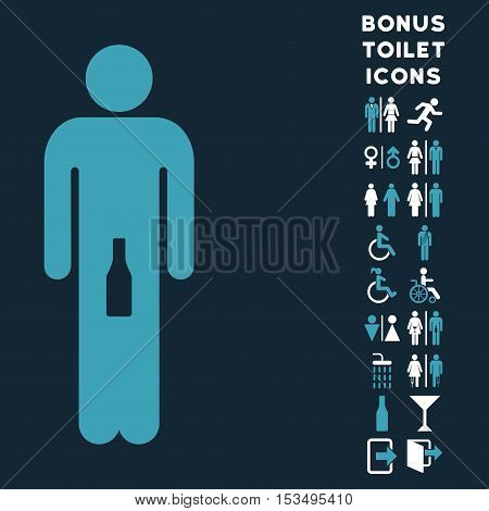 Man icon and bonus male and lady restroom symbols. Vector illustration style is flat iconic bicolor symbols, blue and white colors, dark blue background.