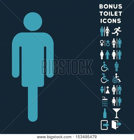 Man icon and bonus gentleman and female toilet symbols. Vector illustration style is flat iconic bicolor symbols, blue and white colors, dark blue background.