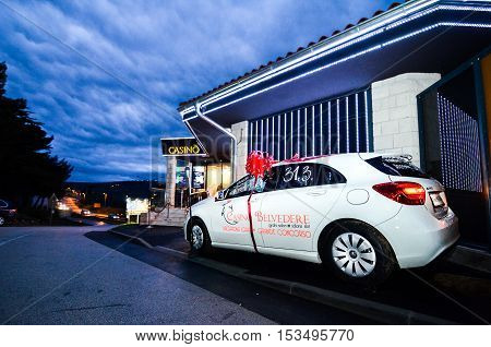 Izola Slovenia - March 31 2013: Grand prize Mercedes Car is waiting for the winner at the Entrance to Casino Belvedere Slovenia