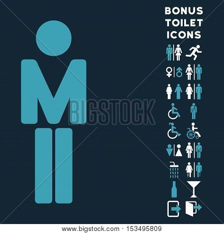 Man icon and bonus man and lady WC symbols. Vector illustration style is flat iconic bicolor symbols, blue and white colors, dark blue background.