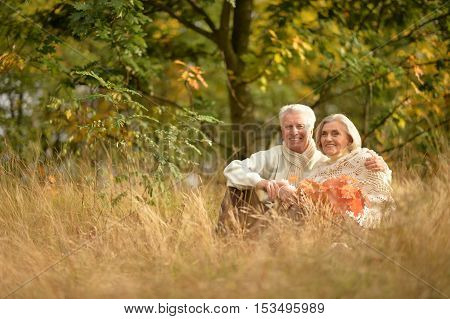 Portrait of a beautiful happy middle-aged couple in the autumn park