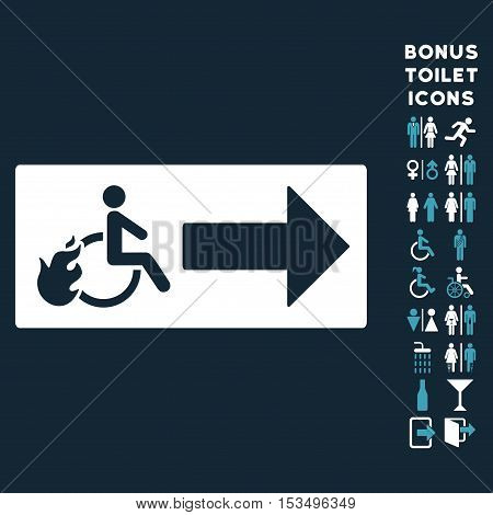 Patient Exit icon and bonus man and woman lavatory symbols. Vector illustration style is flat iconic bicolor symbols, blue and white colors, dark blue background.