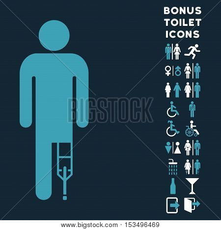 Patient Man icon and bonus male and lady restroom symbols. Vector illustration style is flat iconic bicolor symbols, blue and white colors, dark blue background.