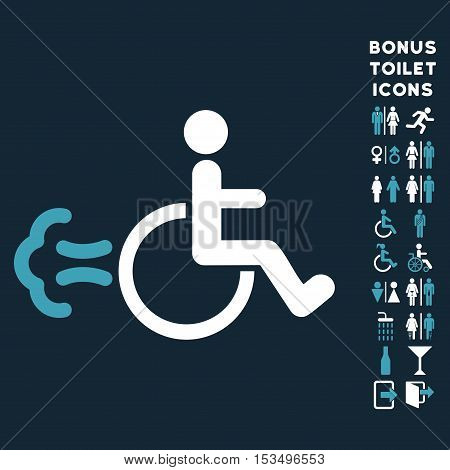 Patient Movement icon and bonus male and female restroom symbols. Vector illustration style is flat iconic bicolor symbols, blue and white colors, dark blue background.