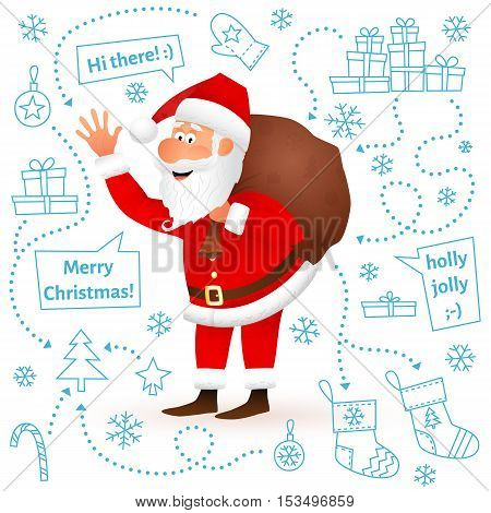 Santa Claus isolated on white Christmas background. Flat funny old man character carrying sack with gifts, waving hand and wishing Merry Christmas. Cartoon vector illustration on hand drawn backdrop