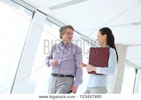 Smiling businessman talking with female colleague in office